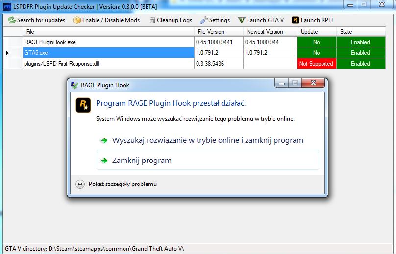 GTA V z LSPDFR Program RAGE Plugin Hook przestał działać